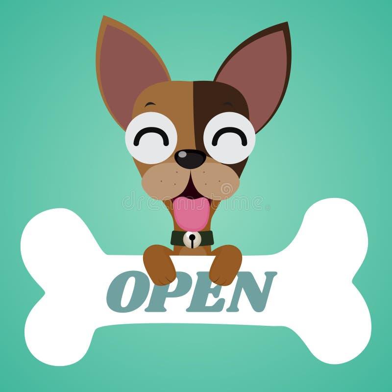 Il piccolo cane sveglio ed il grande osso illustrazione di stock