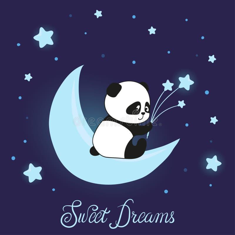 Il piccolo panda sveglio riguarda la luna Vettore di sogni dolci royalty illustrazione gratis