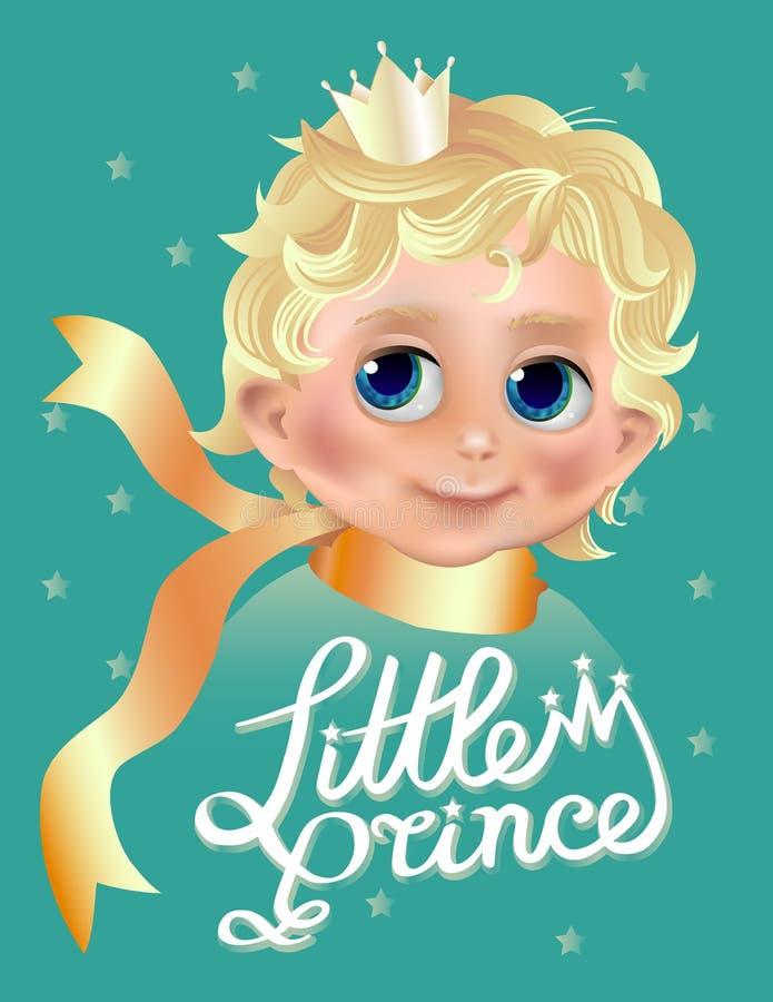 Il piccolo principe Carattere del ragazzino con capelli biondi e la corona Saluto o carta della doccia di bambino con testo illustrazione di stock