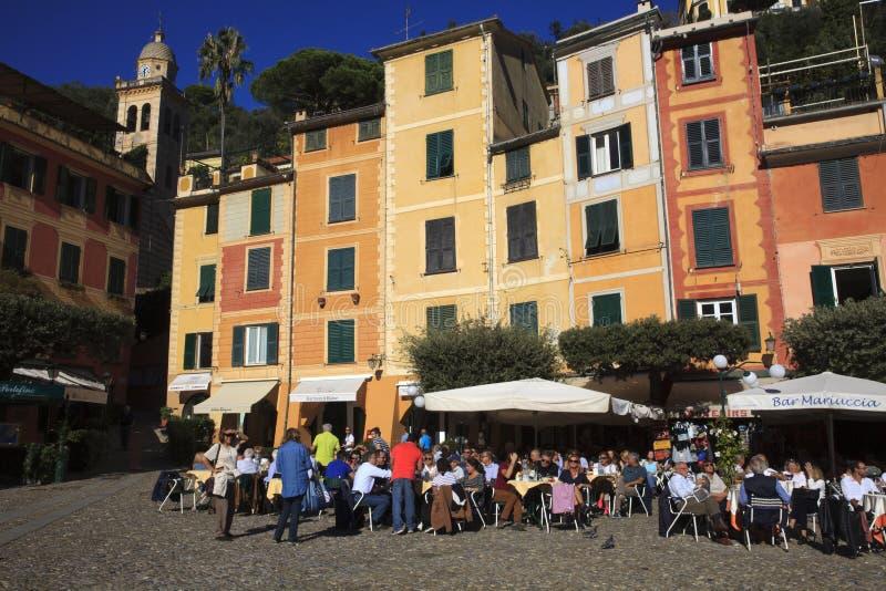 Il piccolo quadrato in Portofino, Genova, Liguria, Italia immagine stock