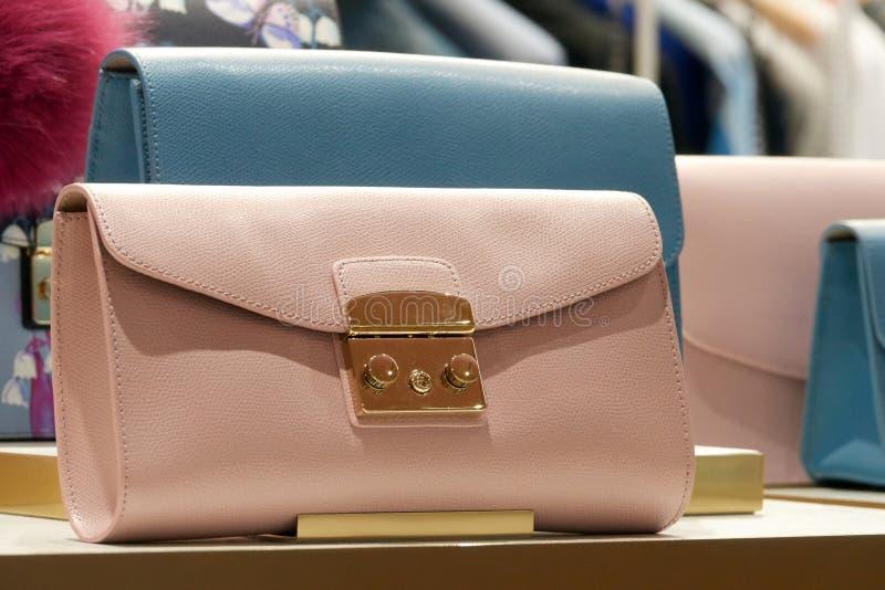 Il piccolo ` s delle donne insacca i primi piani rosa e blu Frizione o borsa immagini stock