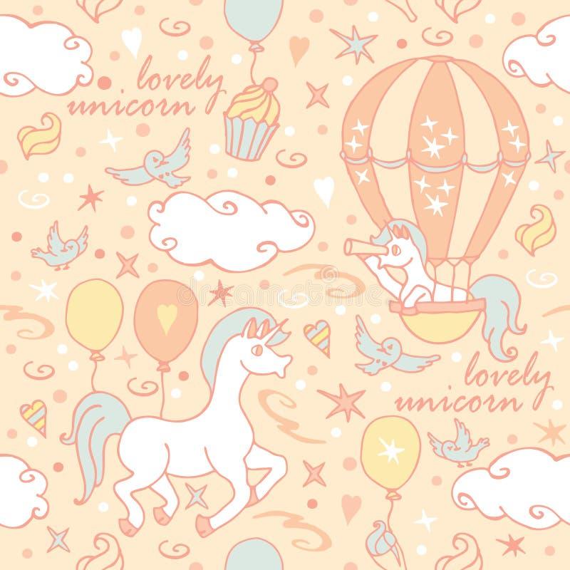 Il piccolo unicorno in aerostato esamina un cannocchiale royalty illustrazione gratis
