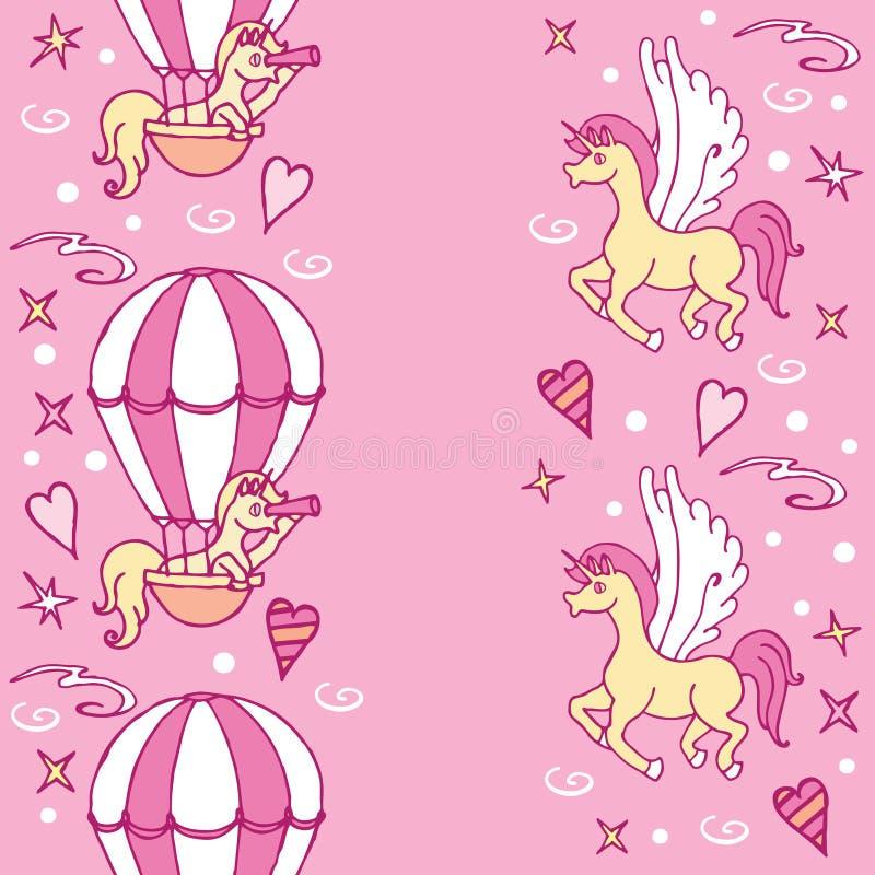 Il piccolo unicorno in aerostato esamina un cannocchiale illustrazione vettoriale
