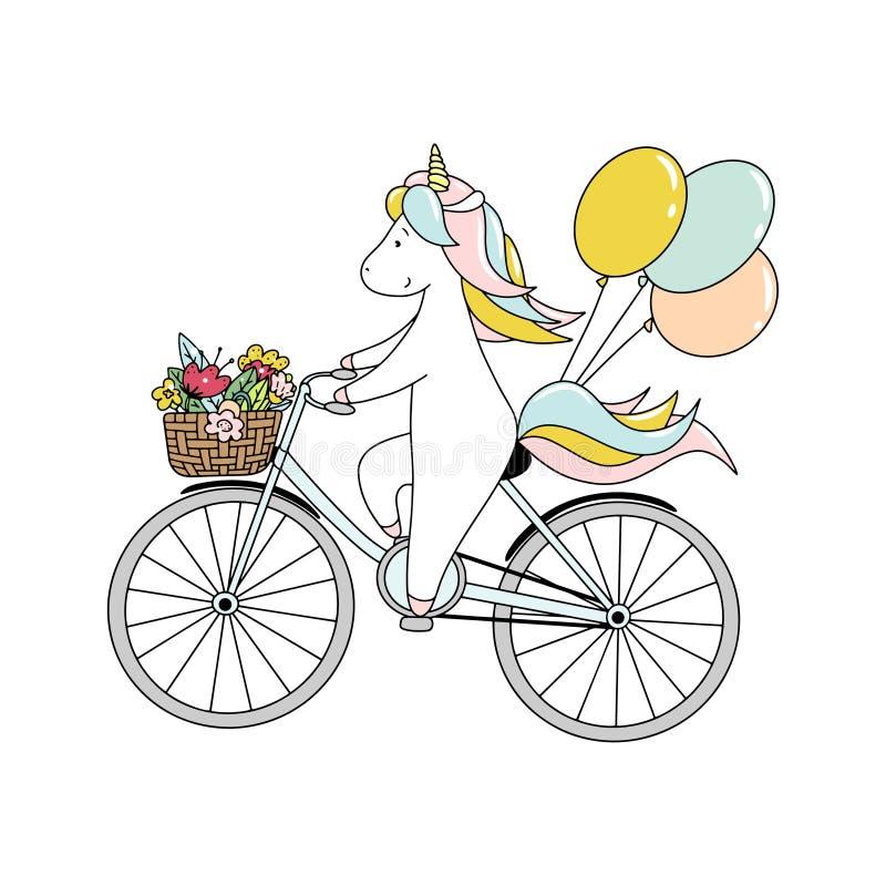 Il piccolo unicorno sveglio sta guidando una bicicletta con i palloni e con un canestro dei fiori Illustrazione disegnata a mano  illustrazione di stock