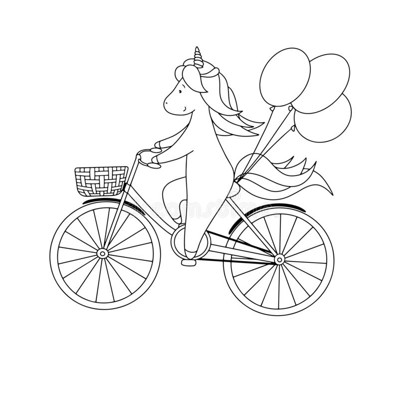 Il piccolo unicorno sveglio sta guidando una bicicletta con i palloni Illustrazione in bianco e nero disegnata a mano di vettore  illustrazione vettoriale