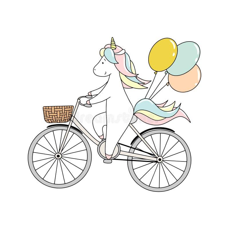 Il piccolo unicorno sveglio sta guidando una bicicletta con i palloni Illustrazione disegnata a mano di vettore illustrazione vettoriale