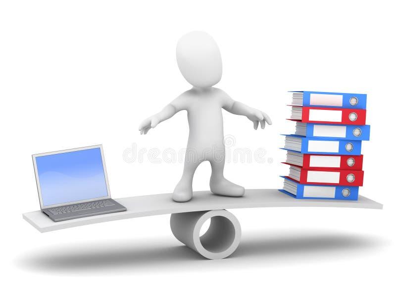 il piccolo uomo 3d equilibra i dati sul movimento alternato illustrazione di stock