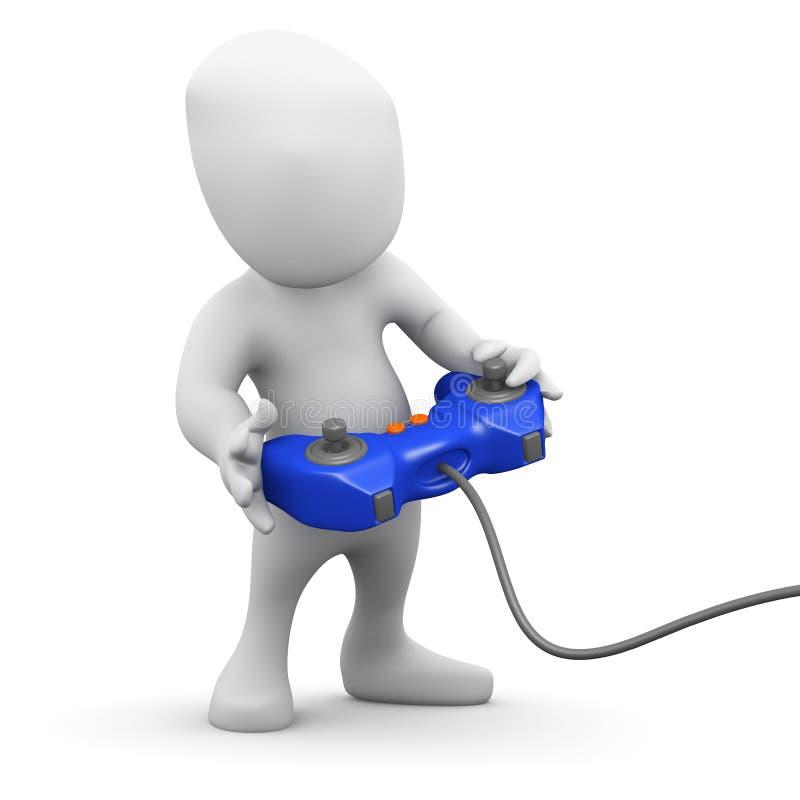 il piccolo uomo 3d gioca un videogioco illustrazione di stock