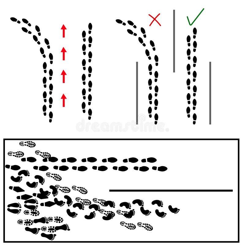 Il piede stampa le icone delle direzioni illustrazione di stock