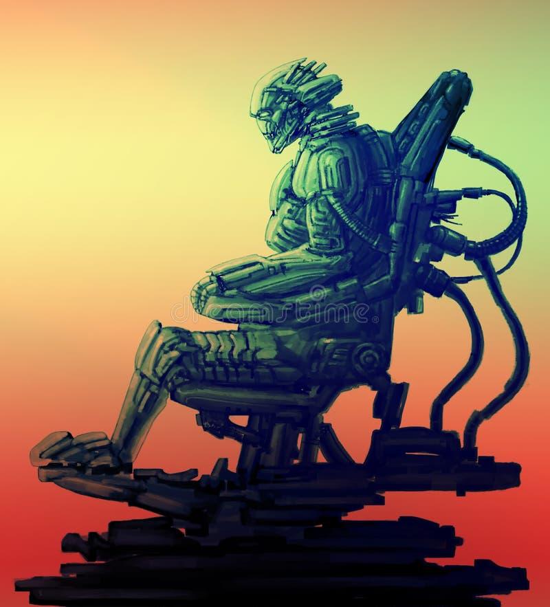 Il pilota del cyborg si siede in vestito sul suo trono del ferro Illustrazione della fantascienza illustrazione vettoriale