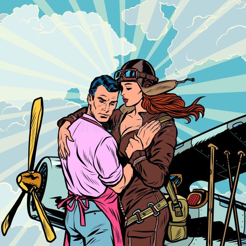 Il pilota della donna dice arrivederci ad un uomo, una coppia nell'amore con un retro aereo illustrazione di stock