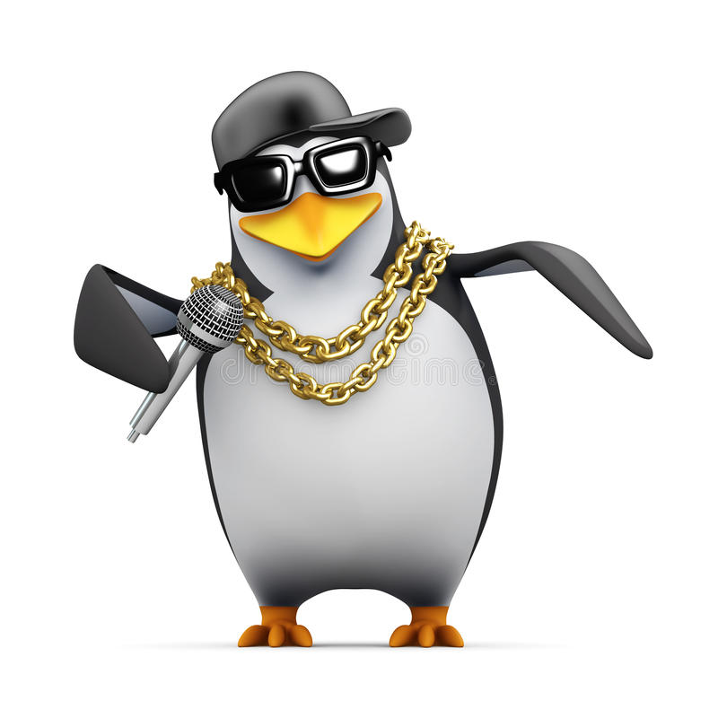 il pinguino del rapper 3d lo dice che gradicalo è royalty illustrazione gratis