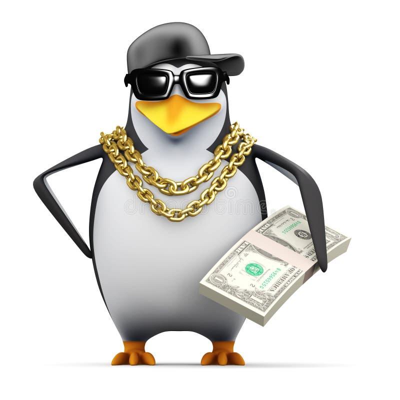 il pinguino del rapper 3d tiene i dollari americani illustrazione di stock