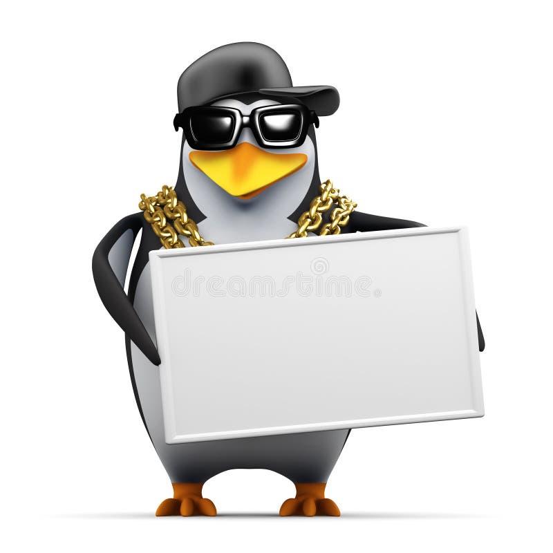 il pinguino del rapper 3d tiene un'insegna royalty illustrazione gratis