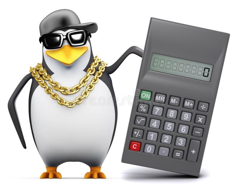 il pinguino del rapper 3d utilizza un calcolatore royalty illustrazione gratis