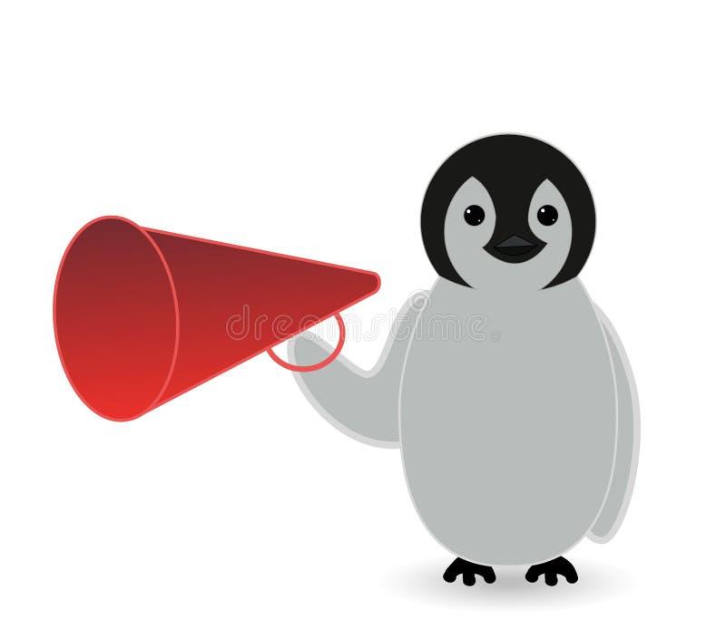 Il pinguino della bambina o il personaggio dei cartoni animati di affari comunica tramite un megafono illustrazione vettoriale