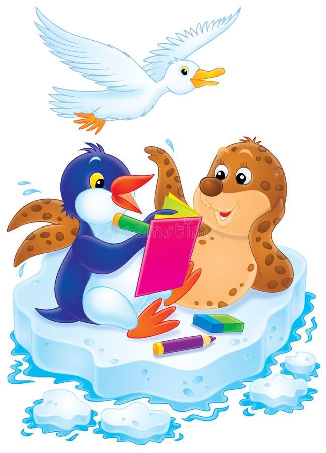 Download Il Pinguino, La Guarnizione Ed Il Gabbiano Risolvono Un Cruciverba Illustrazione di Stock - Illustrazione di polare, arte: 7319457