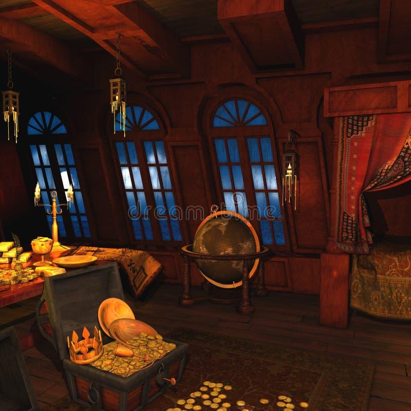 Il pirata Captains la cabina royalty illustrazione gratis
