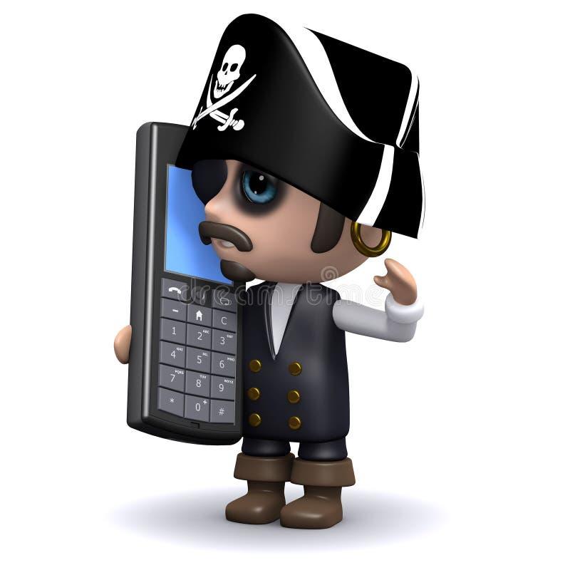 il pirata 3d chiacchiera su un telefono cellulare illustrazione di stock