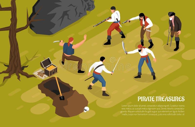 Il pirata fa tesoro l'illustrazione isometrica orizzontale illustrazione di stock