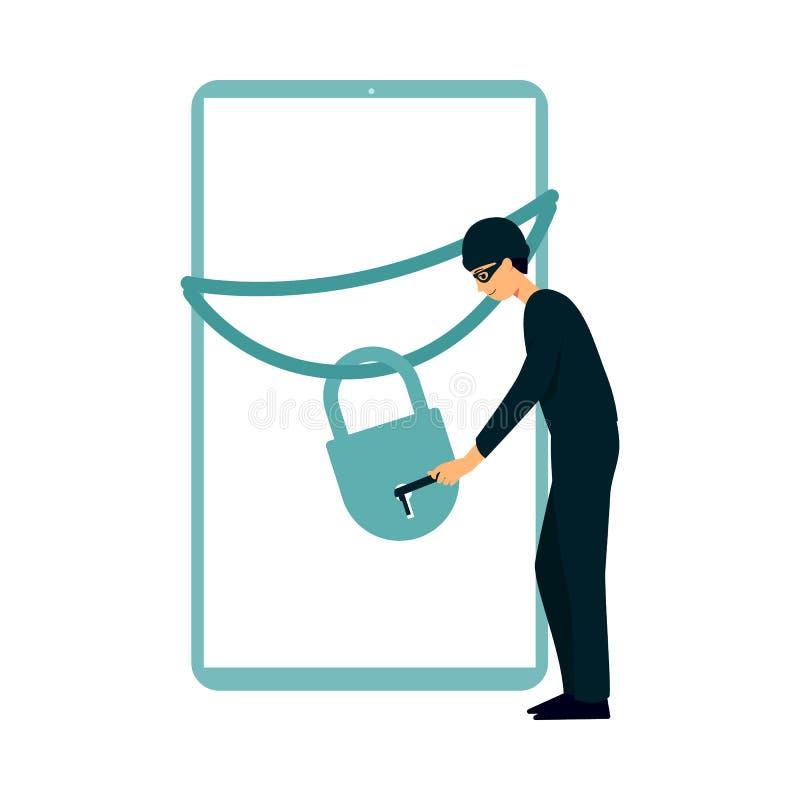 Il pirata informatico apre fissa l'illustrazione piana di vettore dello schermo dell'aggeggio isolata illustrazione di stock