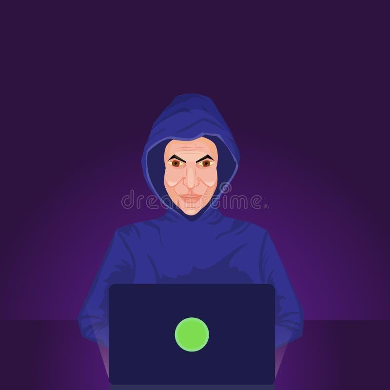 Il pirata informatico incappucciato pericoloso irrompe l'atmosfera scura illustrazione di stock