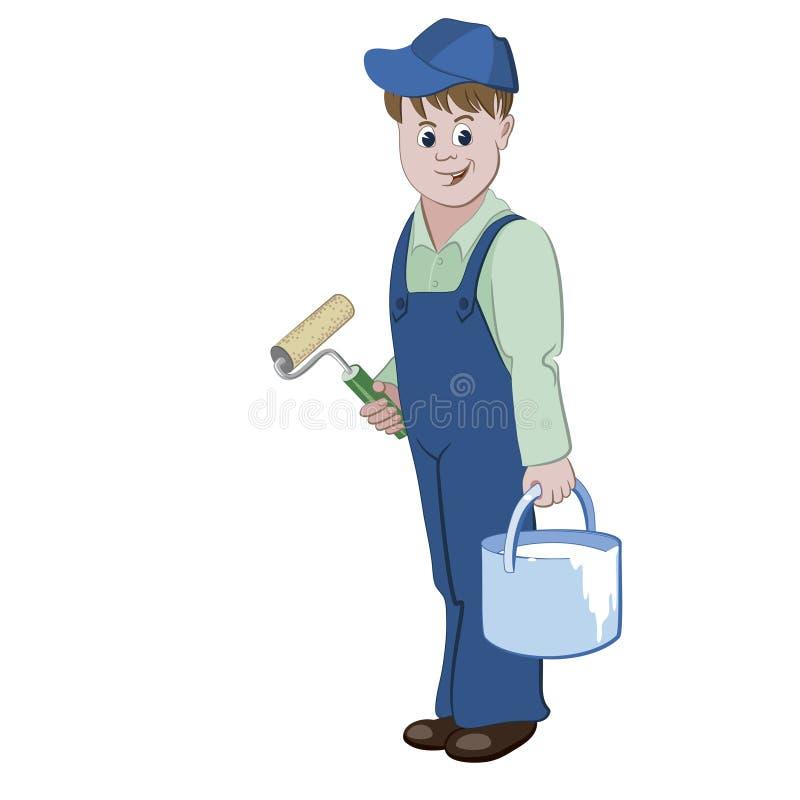Il pittore o il decoratore che sta con un rullo e un secchio di una pittura royalty illustrazione gratis