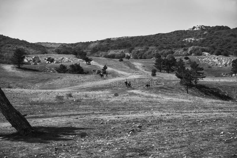 Il plateau della montagna di Ai-Pétri e le siluette della gente a cavallo nella distanza, bw fotografia stock