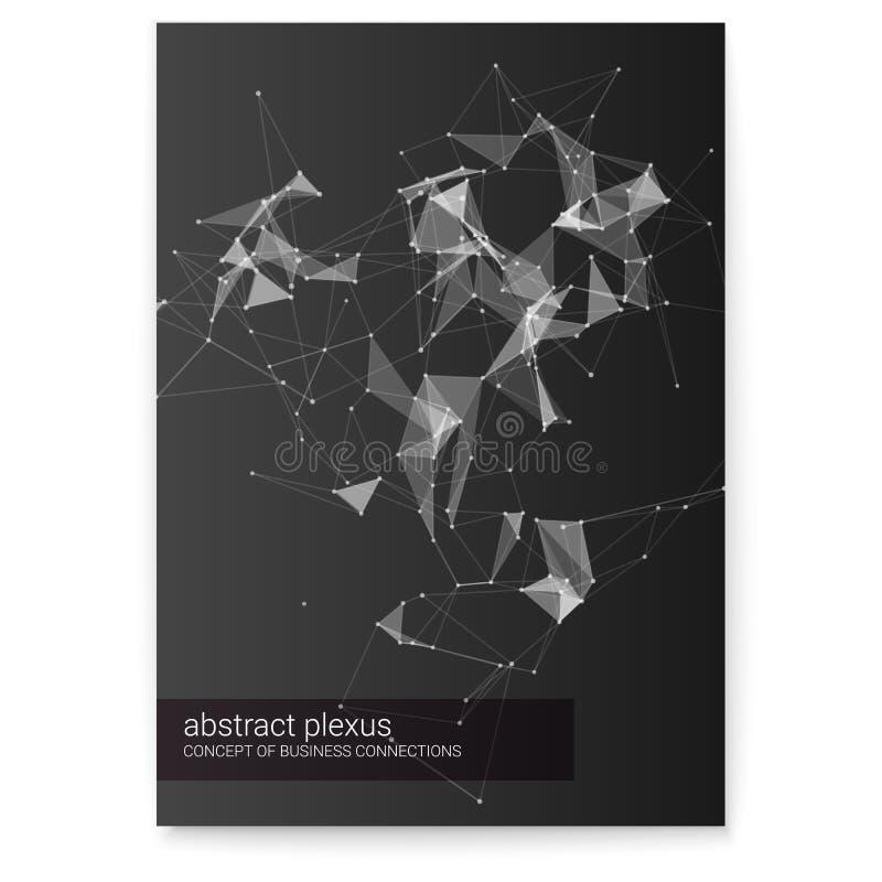 Il plesso futuristico modella, illustrazione astratta di vettore 3D sulla copertura Manifesto dei collegamenti di comunicazione d illustrazione vettoriale