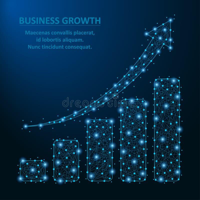 Il poli diagramma basso di affari con la freccia e l'istogramma della crescita fatti dal punto e la linea con wireframe poligonal royalty illustrazione gratis