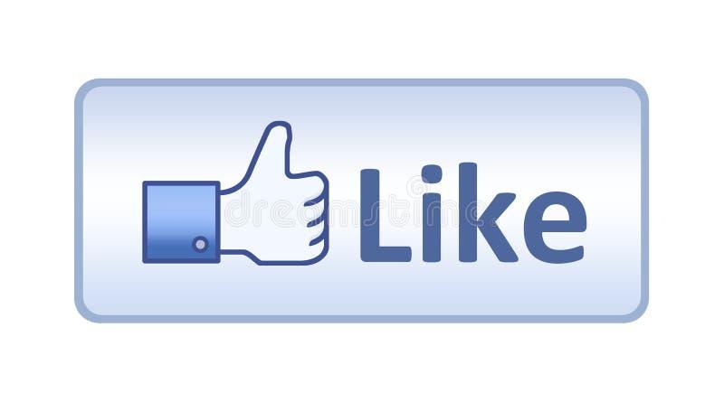 Il pollice di Facebook in su gradice il tasto illustrazione vettoriale