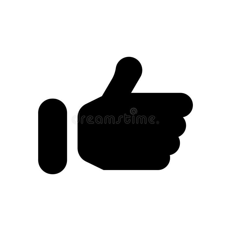 Il pollice su ha riempito il segno ed il simbolo di vettore dell'icona di gesto isolati su fondo bianco, pollice sul concetto rie illustrazione di stock
