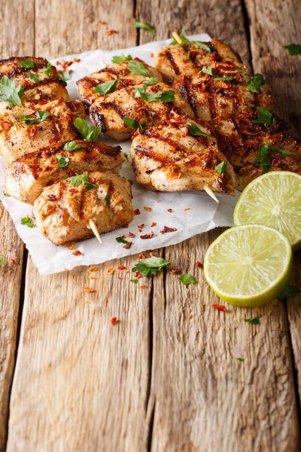Il pollo afgano infilza il primo piano di kebab la e Murgh su carta Vertica fotografie stock