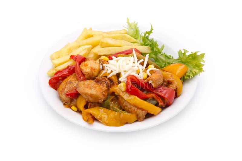 Stir delle verdure & del pollo fritto per le fajite fotografia stock