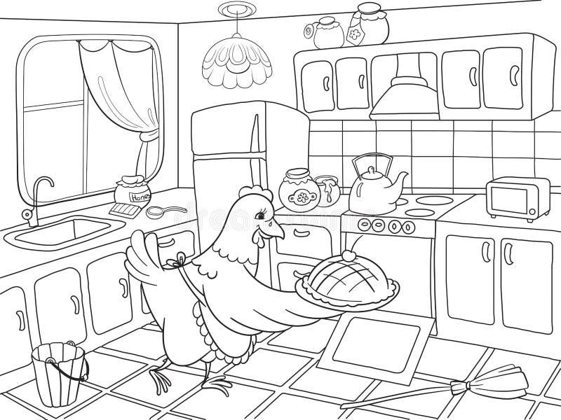 Il pollo della mamma nella cucina prepara l'alimento per il libro da colorare della famiglia per l'illustrazione di vettore del f illustrazione di stock