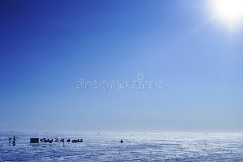 Il polo Sud geografico fotografie stock