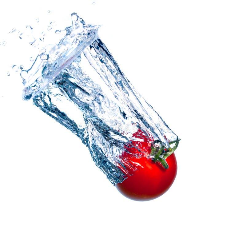 Il pomodoro rosso rientra nell'acqua con una spruzzata immagine stock libera da diritti