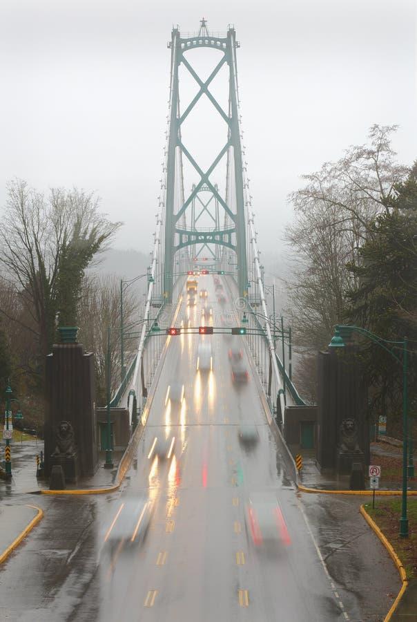 Il ponte del portone dei leoni piovoso permuta, Vancouver fotografia stock libera da diritti