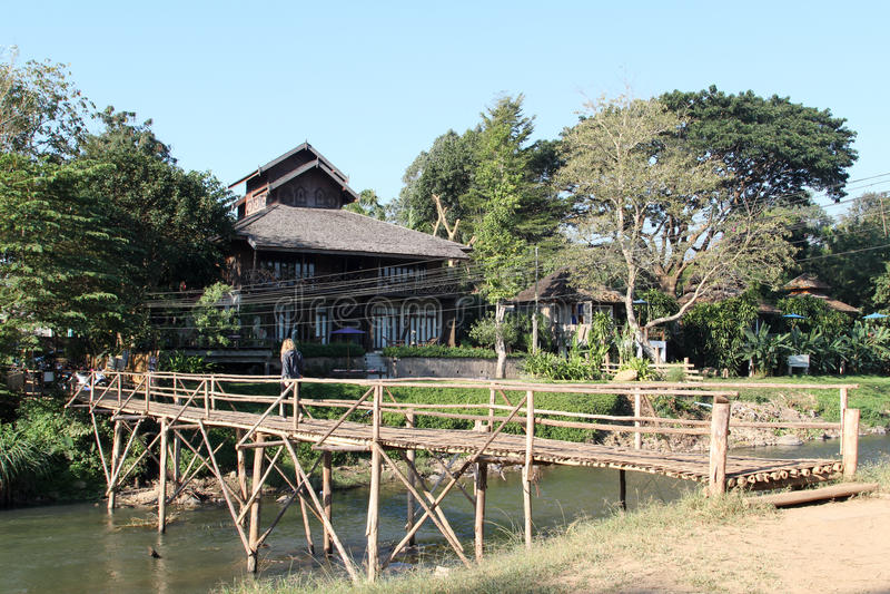 Il ponte di bambù fotografia stock libera da diritti