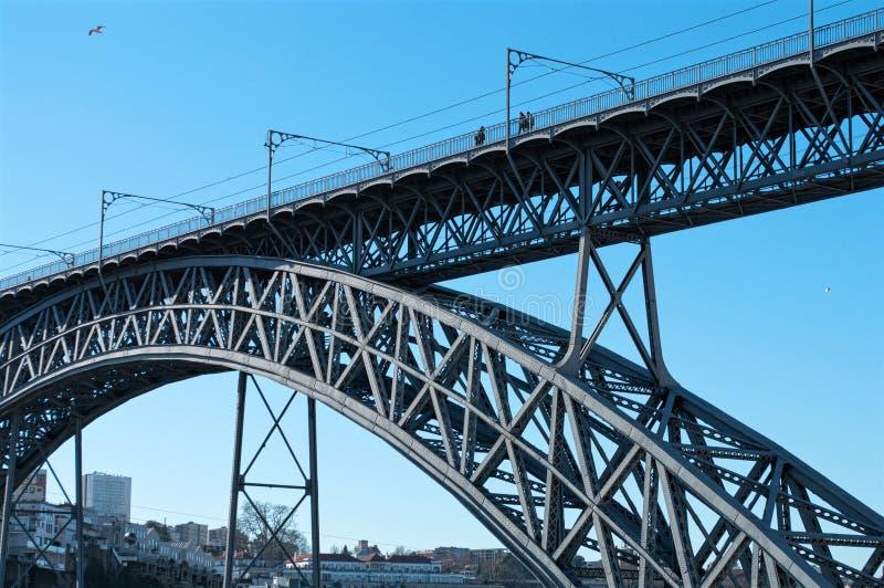 Il ponte di Dom Luis I sopra il fiume il Duero a Oporto, Portogallo fotografia stock libera da diritti