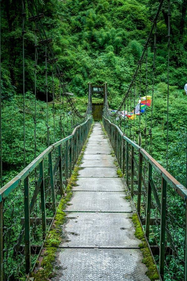Il ponte di ferro, Sikkim, India fotografia stock
