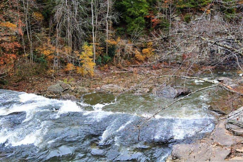 Il ponte girevole della corda dà un grande parere della cascata da sopra immagini stock libere da diritti
