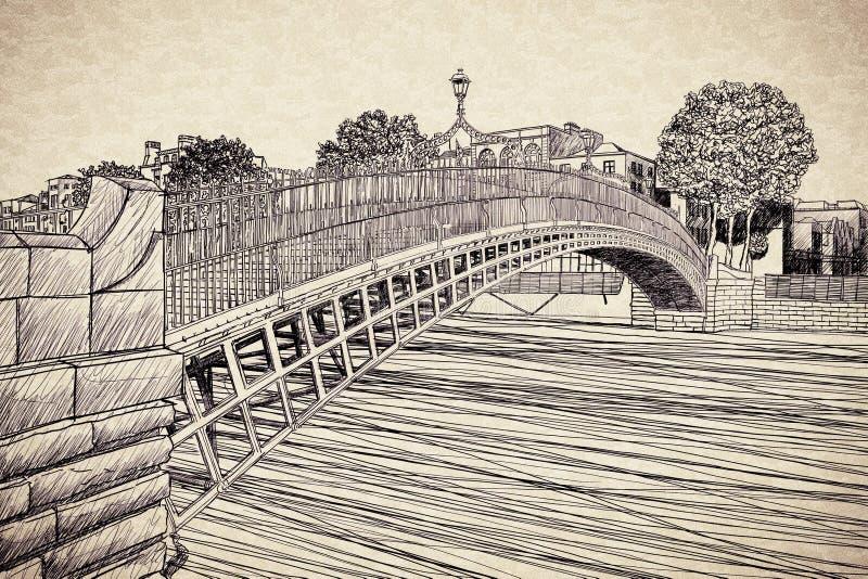 Il ponte più famoso a Dublino ha chiamato Half del ponte del penny dovuto il tributo addebitato il passaggio - immagine di concet illustrazione di stock