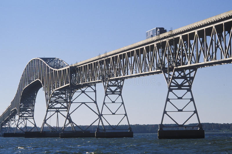 Il ponte sopra la baia di Chesapeake, Lucius J Kellam, junior Ponte-tunnel, la Virginia fotografia stock libera da diritti