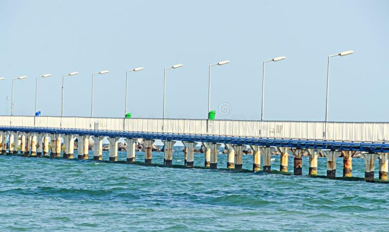 Il ponte sopra Mar Nero, il lungonmare e la spiaggia con acqua blu immagini stock