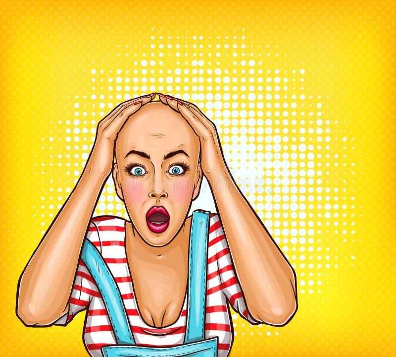 il Pop art ha colpito la ragazza dopo la chemioterapia o il cattivo taglio di capelli Donna calva con cancro Illustrazione di onc illustrazione vettoriale