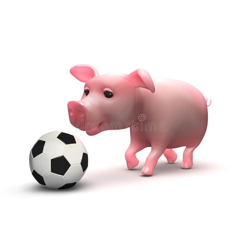 il porcellino 3d gioca a calcio illustrazione di stock