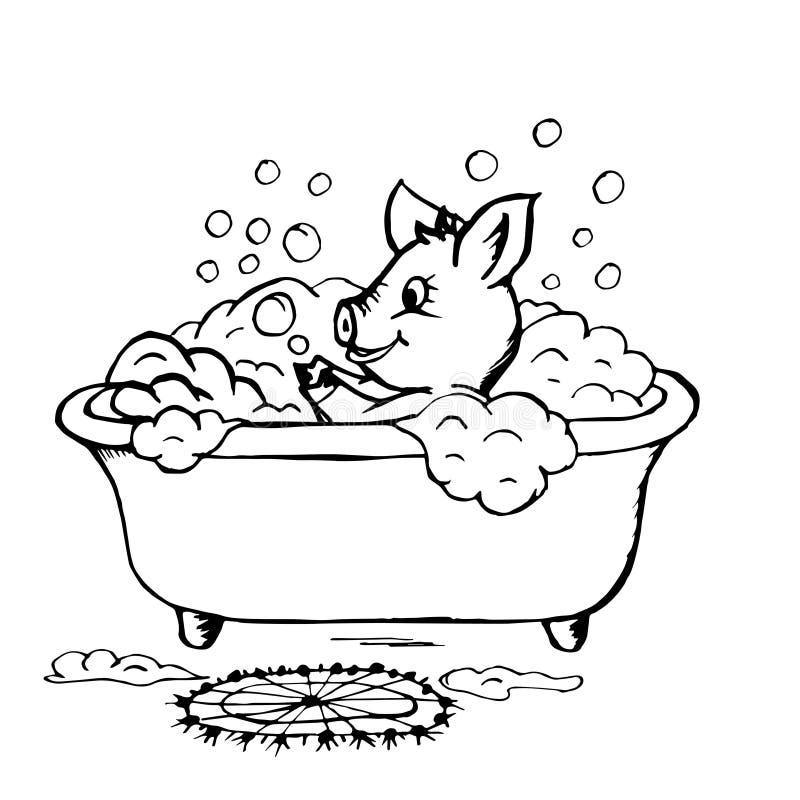 Il porcellino di scarabocchio lava nel bagno illustrazione vettoriale