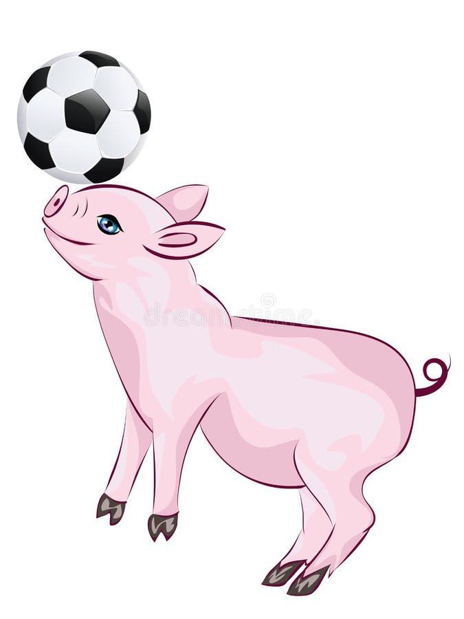 Il porcellino gioca a calcio illustrazione di stock
