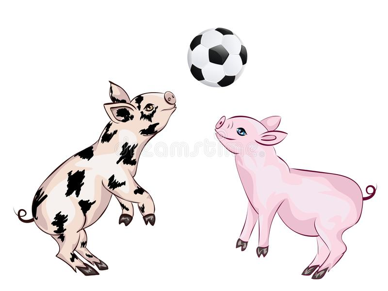 Il porcellino gioca a calcio illustrazione vettoriale